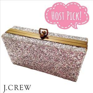 💎 J Crew Silver Sparkle Glitter Clutch Purse 💎